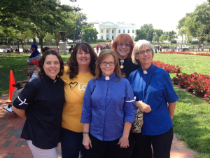 Standing with colleagues prior to the action that got us arrested for refusing to move from the White House sidewalk.